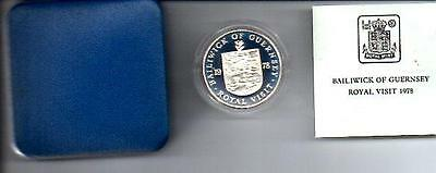 1978 GUERNSEY ROYAL VISIT 25p SILVER PROOF COIN BOXED with COA D2