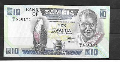 ZAMBIA #27e 1988 UNCIRCULATED 10 KWACHA OLD BANKNOTE PAPER MONEY CURRENCY NOTE