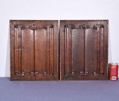 *Pair of Antique Gothic Revival Solid Oak Wood Panels with Linen Fold Carvings