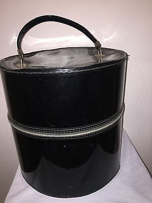 VINTAGE VTG Black Tall Hat Box Luggage Suitcase Wig Head Zippered HUGE Case