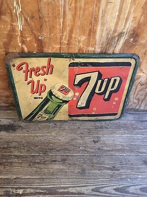 Vintage 7-Up Fresh Up With Seven Up Sign Tin Sign