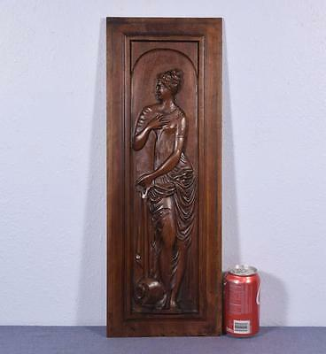 *French Antique Greek Revival Panel/Door in Walnut Wood with a Woman