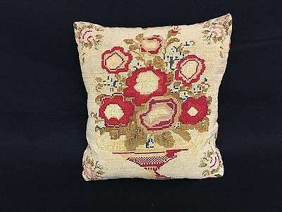 Charming 19Th C Antique Needlepoint Tapestry Sampler Pillow Urn Of Red Roses