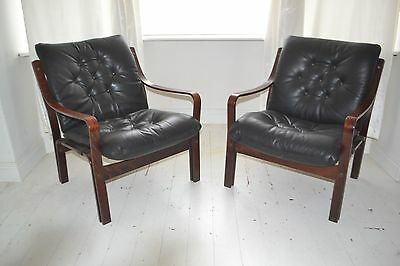 STUNNING PAIR VINTAGE DANISH ROSEWOOD & LEATHER LOUNGE ARM CHAIRS - 1960's