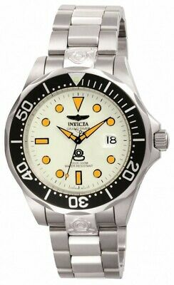 Invicta 10640 Men's Grand Diver Automatic Lume White Dial Steel Bracelet Watch