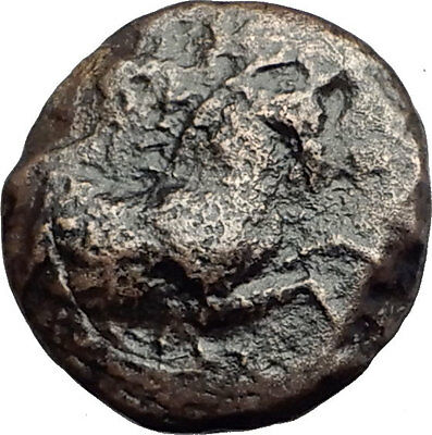 KYME in AEOLIS - Genuine 350BC Authentic Ancient Greek Coin  HORSE & VASE i62667