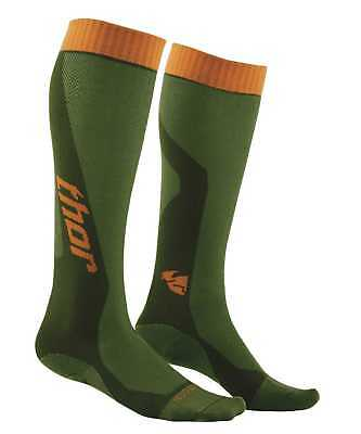 New Thor-MX MX Cool Adult Over-The-Calf Heigth Socks, Green/Orange, Size-6,7,8,9
