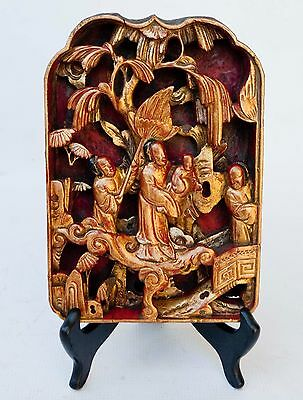Antique Chinese Deeply Carved Wood Lacquered Gilted Panel IMMORTAL Figures