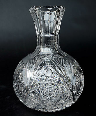 American Brilliant Style Cut Crystal Star and Cross Hatch Water Carafe Jug