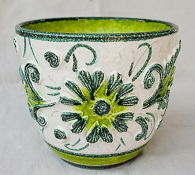 Vintage 1970's Italian Majolica Ceramic Planter Bowl Marked Italy Bright Colors