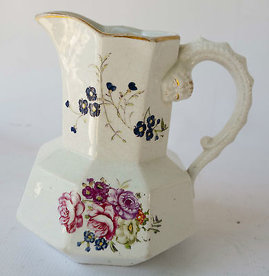 Wonderful Antique Victorian Ironstone Hand Painted Syrup Pitcher With Flowers