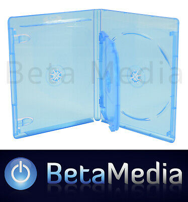 100 x Blu Ray Quad 14mm Quality Cases with logo Blu-ray ** Holds 4 discs **