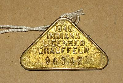 Indiana Licensed Chauffeur Badge 1946