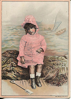 Original STIMSON'S SUDSENA COLOR Victorian TRADE Card - Little Girl in Pink