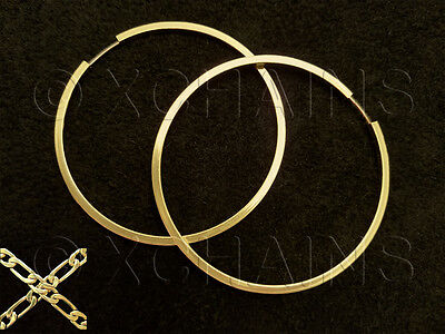 "New 14K Yellow Gold Plate Gp 2 1/4"" Squared Hoop Earrings Fast Ship #318"