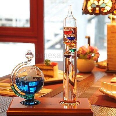 12 Inch Galileo Liquid Thermometer + Glass Globe Barometer Weather Forecast Set