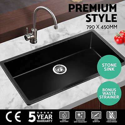 Cefito 790x450mm Black Kitchen Sink Granite Stone Top/Undermount Stainless Steel