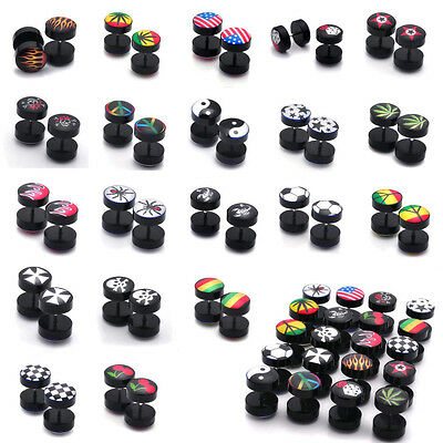 2pcs Fake Cheater Ear Plug Piercing Earring Stud Tunnel Stretcher Lots Design