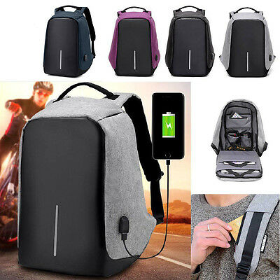 Unisex Anti-Theft Backpack Sports & Outdoors Laptop USB Port Charger Travel Bags