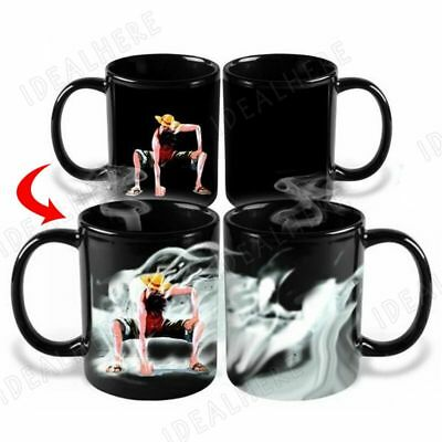 Anime One Piece Luffy Heat Reactive Color Change Coffee Mug Cup Gift 1pc