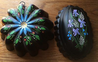 """Retro Wall Decor 2 Hand Painted Copper Baking Molds 1 Round 1 Oval 6.75"""" & 7.X5"""""""
