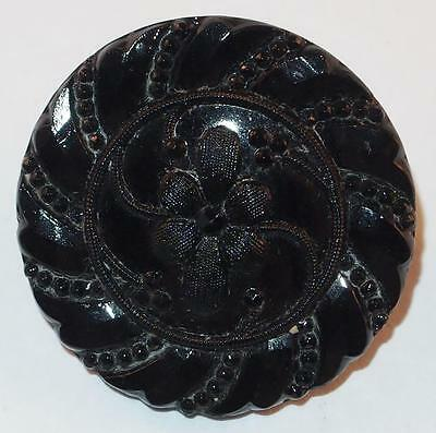 Antique Victorian Black Molded Glass Flowers Decorated Round Mourning Brooch Pin