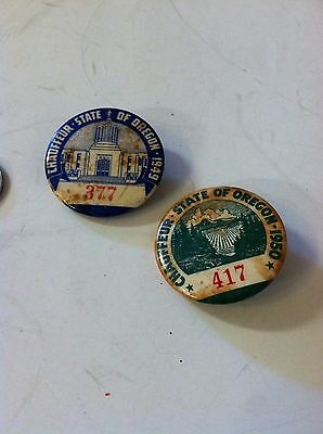 vintage state of oregon chauffeur license badges a lot of 2-1949 & 1950