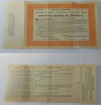 1912 METROPOLITAN TELEPHONE&TELEGRAPH Co STOCK CERTIFICATE ~ 10 Shares, obsolete