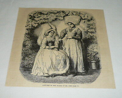 1879 magazine engraving ~ COSTUMES OF THE ISLAND OF RE