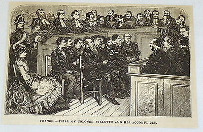 1881 magazine engraving ~ TRIAL OF COLONEL VILLETTE ~ France