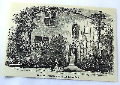 1886 magazine engraving~ JOAN OF ARC'S HOUSE AT DOMREMY, France