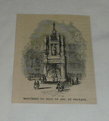small 1879 magazine engraving ~ MONUMENT TO JOAN OF ARC AT ORLEANS