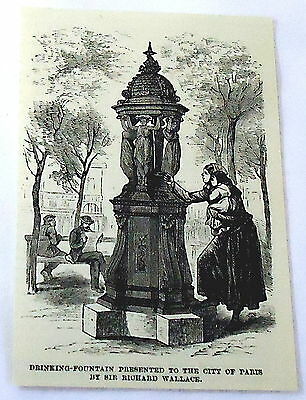 1886 magazine engraving~ DRINKING FOUNTAIN FOR PARIS, Richard Wallace