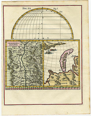 Antique Map-NOVAYA ZEMLYA-ALSACE-GERMANY-FRANCE-RUSSIA-Scherer-c. 1700
