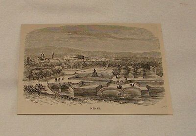 1879 magazine engraving ~ VIEW OF NIMES, France