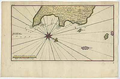 Antique Map-QUIBO ISLAND-COIBO-PANAMA-PORT DE DAMES-Anson-c. 1750