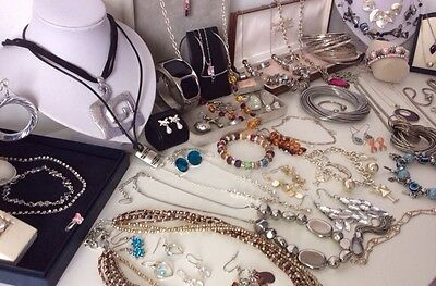 Job Lot Silver Tone Plate QUALITY Jewellery Earrings Rings Necklaces Modernist