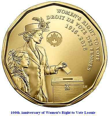 2016 Canada Women (Right to Vote) Commemorative Loonie. Mint UNC.