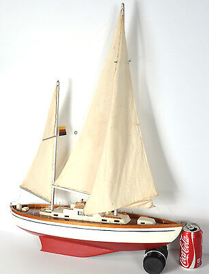 "Vintage Wood Pond Boat Monohull Sailboat Ketch German Flag 22"" Long 23"" Mainmast"
