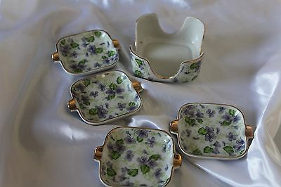 Vintage Lefton Stacking Ashtrays 4 in a Holder w/ Purple Violets Made in Japan