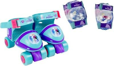 Disney Frozen Quad Roller Skates With Elbow Pads, Knee Pads - Protection Set