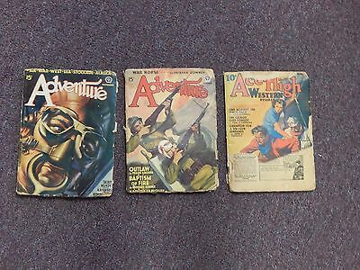 Vintage Pulp Magazine Lot, 2 Issues of Adventure 1935 & Ace High Western