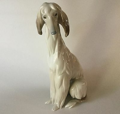 """Large LLADRO AFGHAN Hound Dog Seated # 1069 Retired Spain 11 3/4"""""""