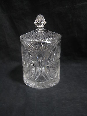 Vintage Anchor Hocking Pressed Glass Star of David Candy Dish with Lid