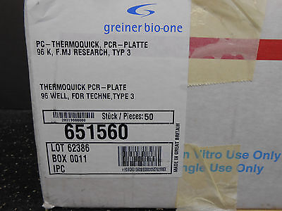 Case Of 44 Greiner Bio-One 651560 Thermoquick Pcr 96 Well Plate