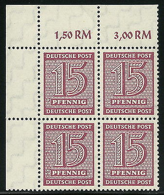 Post-WWII Germany W. Saxony Soviet Occ. 15pf Numeral Shade Block Expertized VF**