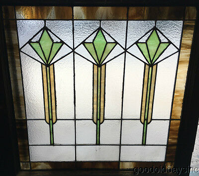 """1 of 2 Art Deco Stained Leaded Glass Window 33"""" by 32"""" Circa 1925"""
