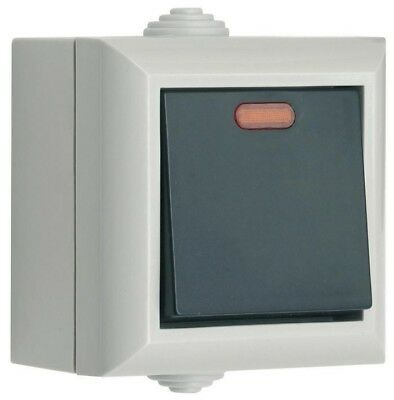 SMJ Electrical IP54 1 Gang 2Way Switch with LED EP1GNB