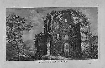 Francesco Piranesi - Radierung etching incisione in rame Tempio Minerva Medica