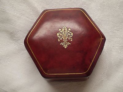 Vintage Leather Made in Italy Six  Sided Trinket Case 2 1/2 inch